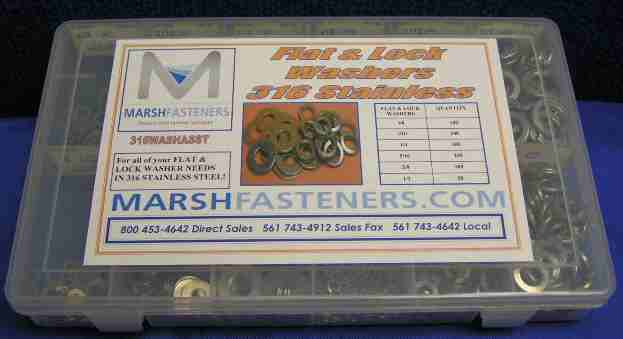 FLAT & LOCK WASHER ASSORTMENT- 316 STAINLESS STEEL.